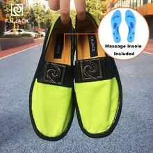 F.N.JACK masaj astarı erkek ayakkabıları tuval rahat kauçuk ayakkabı Masculino akıllı Espadrille Scarpe erkekler Vip bağlantı Zapatillas hombre