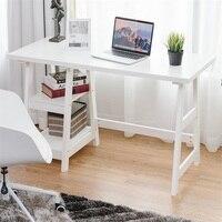 Mobilya'ten Dizüstü Bilg. Masaları'de Modern beyaz bilgisayar masası ile 2 açık katlı raflar ofis yazı masası iş istasyonu bilgisayar dizüstü bilgisayar masası mobilya HW59243WH