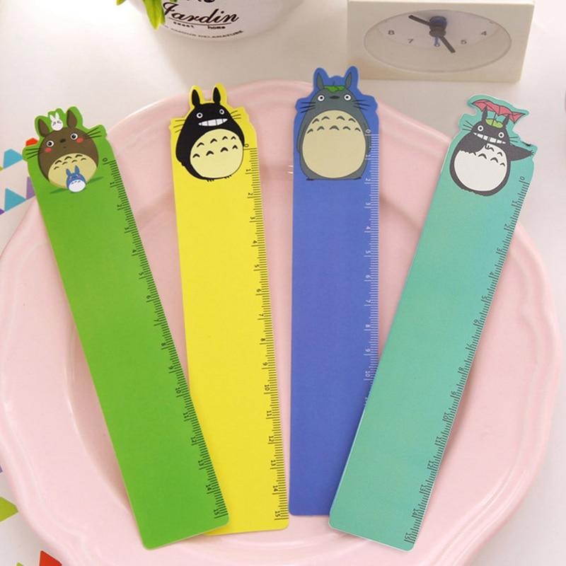 1 Pc New Cartoon Straight Kawaii Tools Drawing Gift Korean School Office 15cm Plastic Rulers Flexo Stationery Totoro