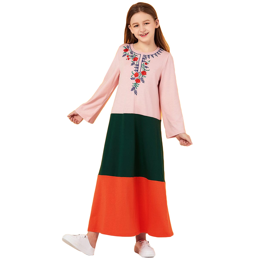 Muslim Women Kids Girls Long Dress Abaya Child Kaftan Party Gown Jilbab Robe New