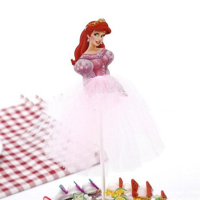 1 sztuk Cartoon księżniczka dekoracja urodzinowa Kid Cupcake ozdoba na wierzch tortu dla dziewczynek z okazji urodzin tort na przyjęcie brzuszkowe