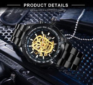 Image 4 - WINNER Official Automatic GOLD Watch Men Steel Strap Skeleton Mechanical Skull Watches Top Brand Luxury Dropshipping Wholesale