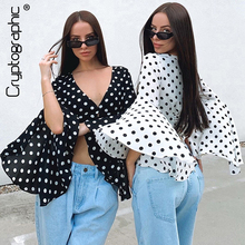 Cryptographic Fashion Polka Dots Blouse for Women V-neck Button Lace up Back Flare Sleeve Cropped Tops Autumn 2019 Elegant