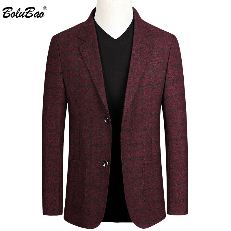 BOLUBAO Brand Men Casual Blazers High Quality Men's Business Single Breasted Plaid Suit Fashion Dress Blazer Male
