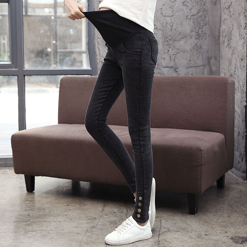 1717# Nailing Autumn Stretch Washed Denim Maternity Pants High Waist Adjustable Belly Pencil Pants For Pregnant Women Pregnancy