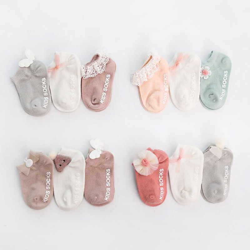 3 Pair new non-slip newborn baby socks autumn and winter cotton children's floor boat socks lace foo