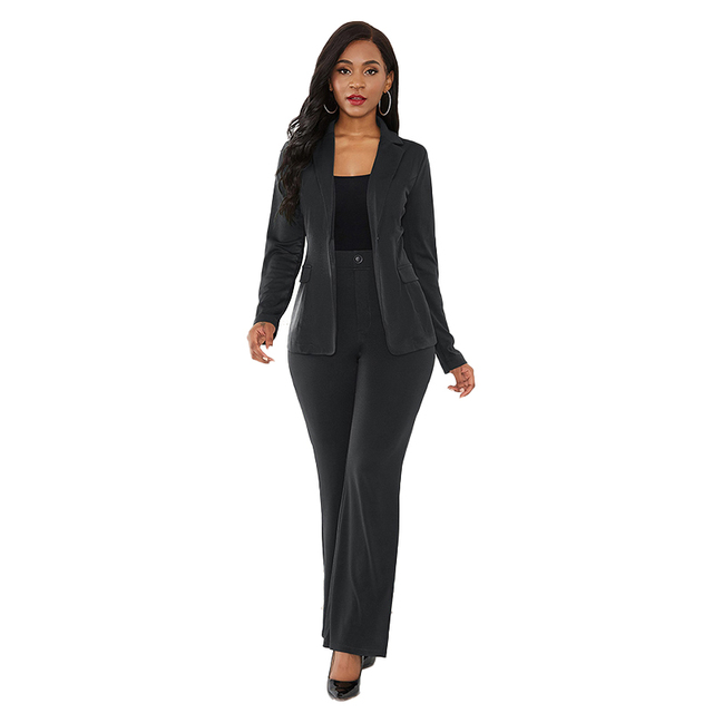 Solid Color Two Piece Set Slim Elegant Office Suit Business Wear 2019 New Autumn and Winter Women's Clothing Sexy Two Piece Suit 2