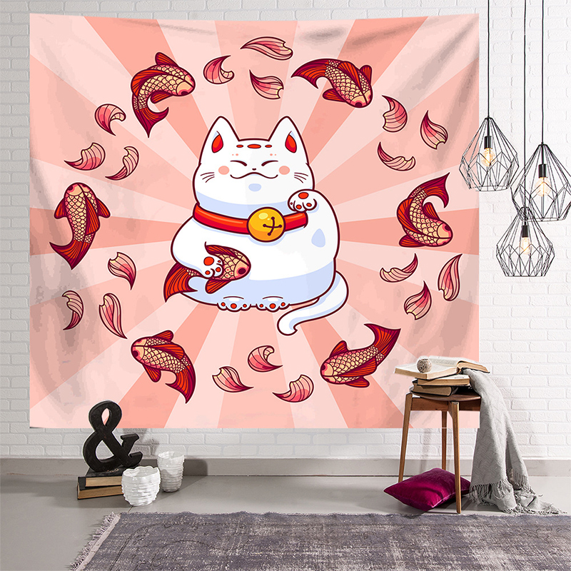 Japanese Lucky Cat Hanging Cloth Tapestry Blanket Background Cloth Beach Towel Household Hanging Picture Decorative Tablecloth image