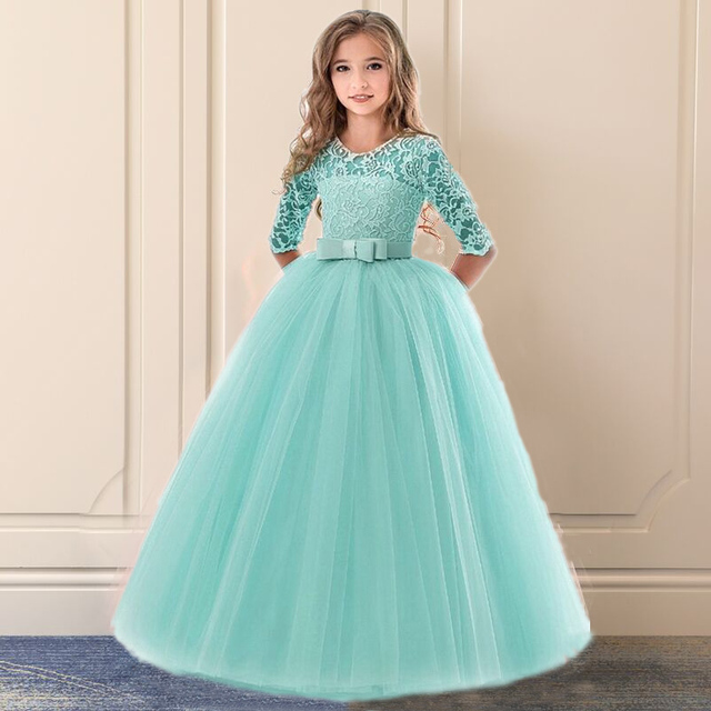Floral Elegant Lace  kids dresses For Girls 6-14T Party And Wedding First Communion Tulle Children Costume For Junior vestidos