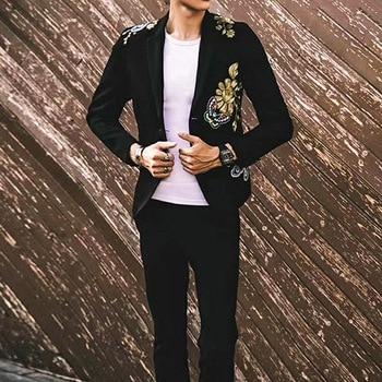 Luxury Vintage Embroidered Blazer Men Wedding Night Club Autumn Winter Slim Suit Coat Fashion Thick Single Breasted Outerwear