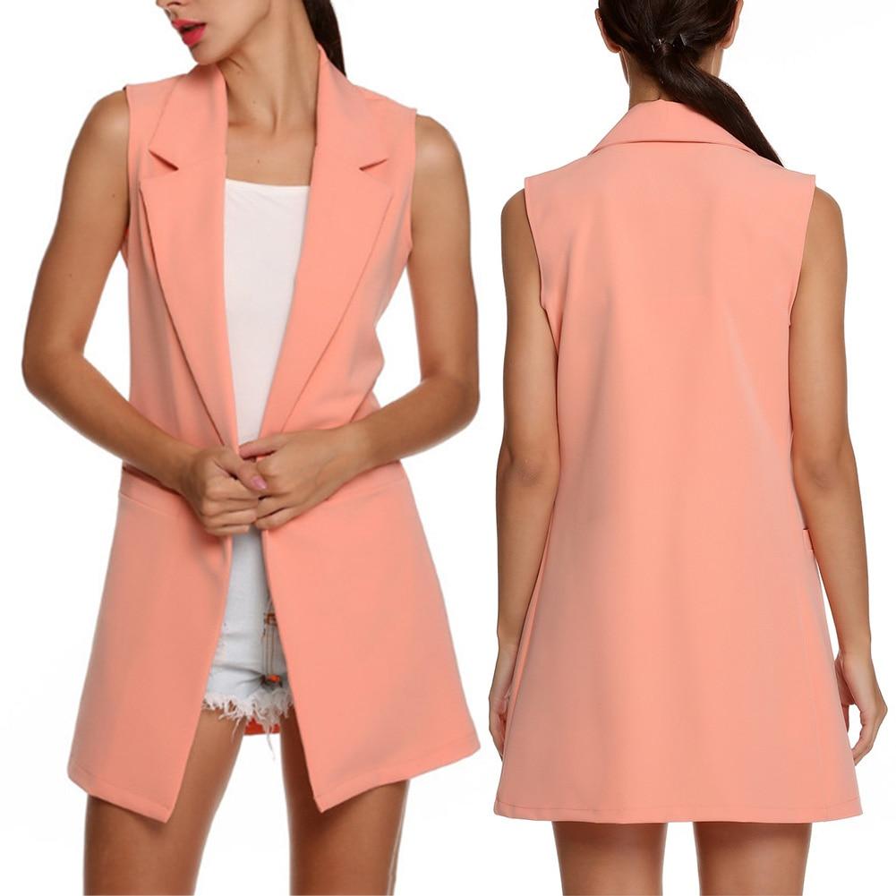 H2b9cf3cbbe7b4e23b64e8bc98834bd38B Summer V-Neck Vest Pocket Women Thin Loose Waistcoat Single Breasted Sleeveless Blazer Feminino Short Slim Vest Femme Tide XXL