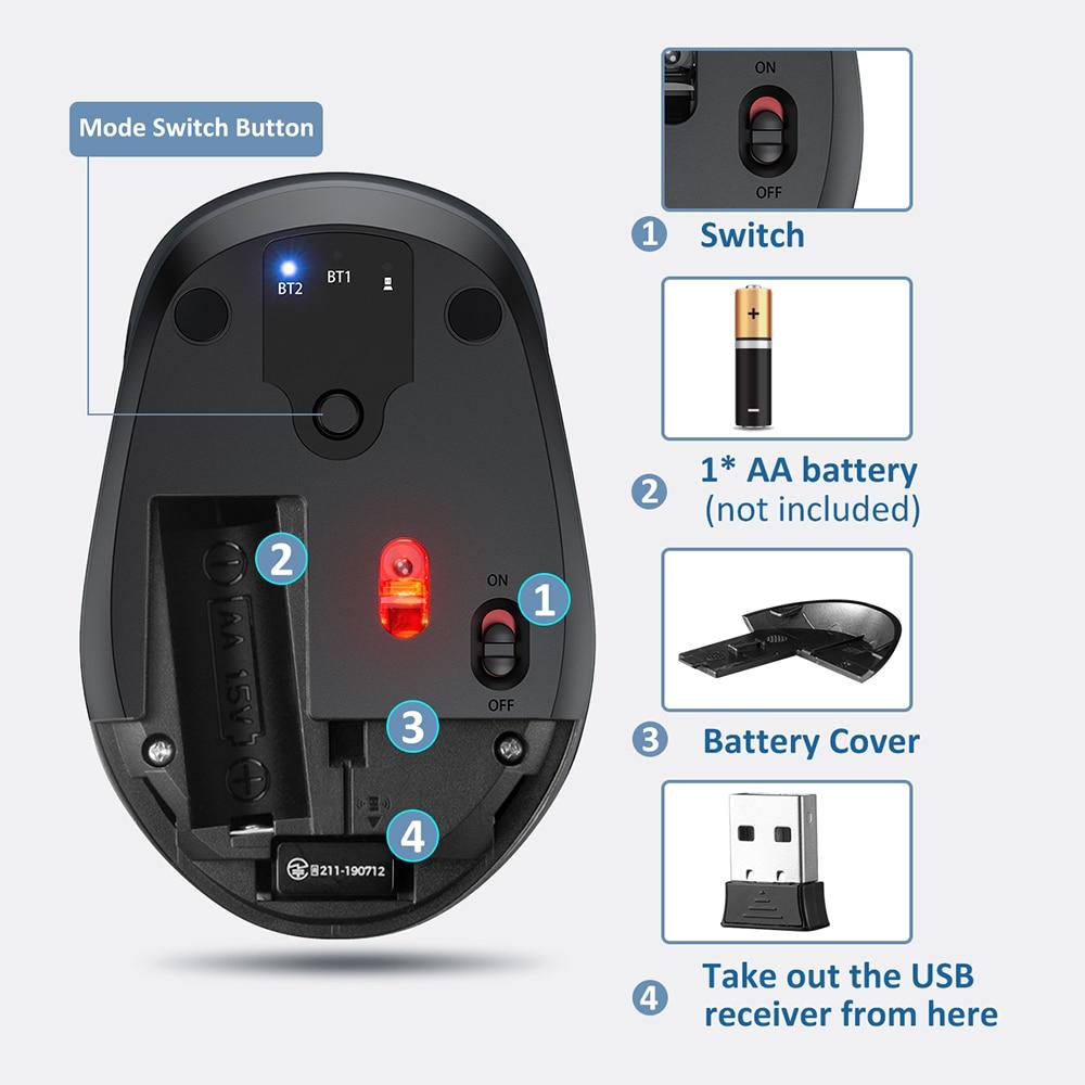 VicTsing PC254 Wireless Mouse 2400DPI Adjustable Portable Bluetooth Mouse 2.4Ghz USB Optical Cordless Mice For PC Tablet Laptop PK Logitech Ajazz ACGAM Razer (6)