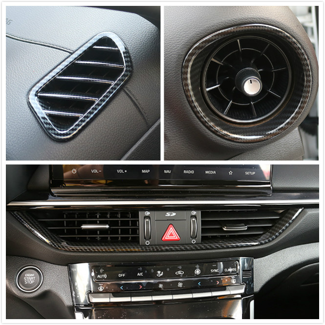 For Kia K3 Forte Cerato 2019 2020 Carbon Style Different Positions A/C Air Outlet Vent Frame Stickers Cover Trim Car Styling
