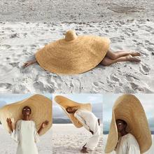 Женская летняя шляпа, Пляжная соломенная шляпа, модная большая шляпа от солнца, Пляжная анти-УФ Защита от солнца, складная соломенная Кепка, защита от солнца, распродажа