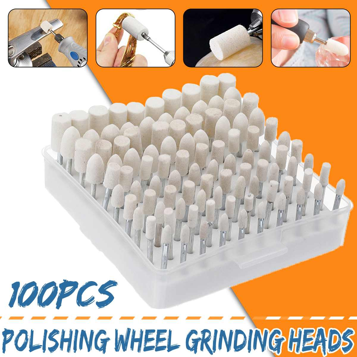 Doersupp 100 Pcs Wool Felt Grinding Heads 4-10mm Dremel Mini Drill Felt Wheel For Metal Polish Ground For Fast