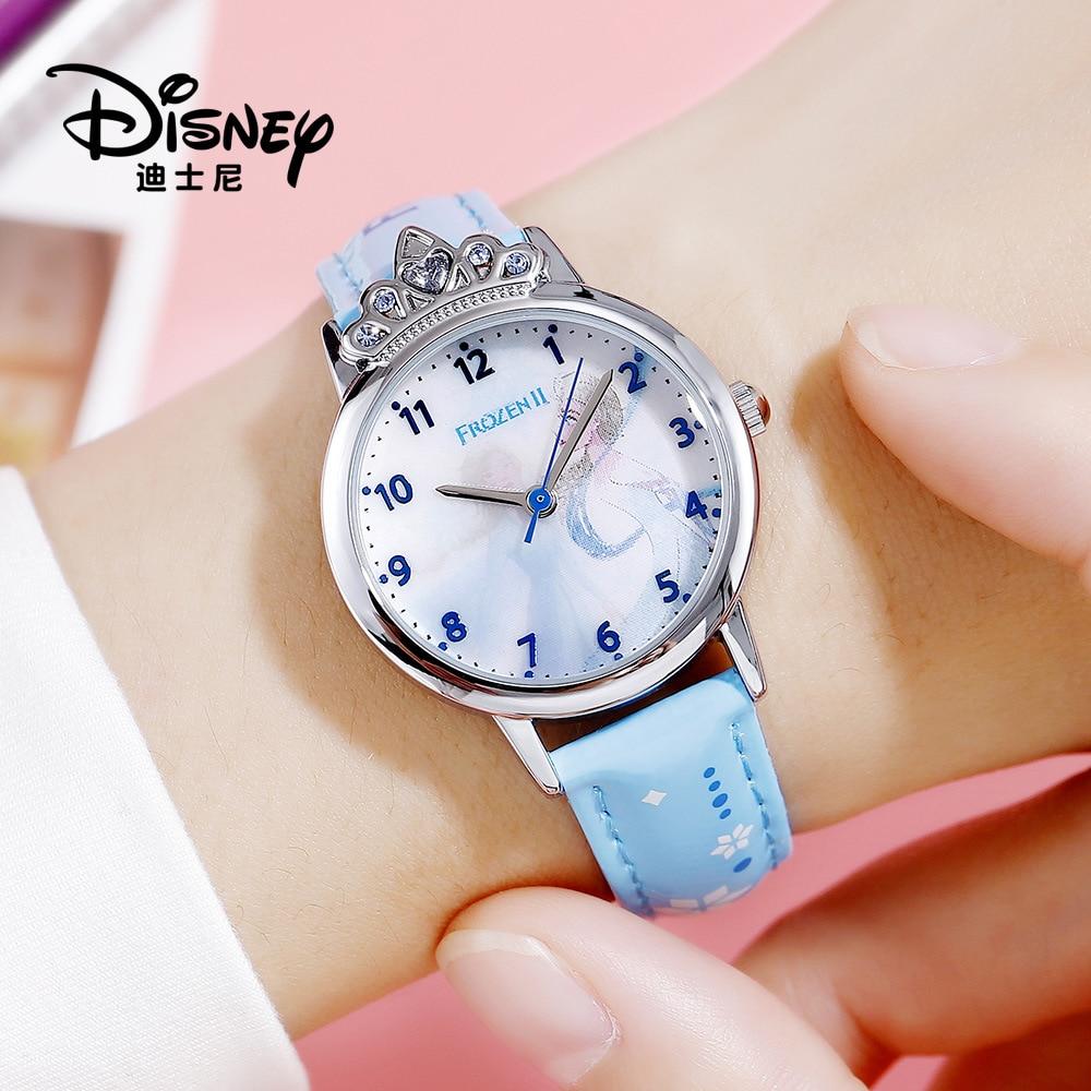 Дисней лед и снег 2 дети% 27 часы бриллиант корона принцесса серия часы магия двойной циферблат циферблат кварц часы