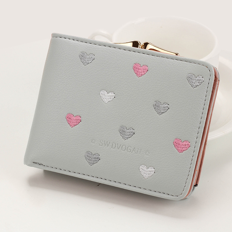 Japanese Multi-function Women's Mini Wallet Candy Color Heart-shaped Embroidery Women Short Wallet Cute Coin Purse Card Package - Цвет: Gray