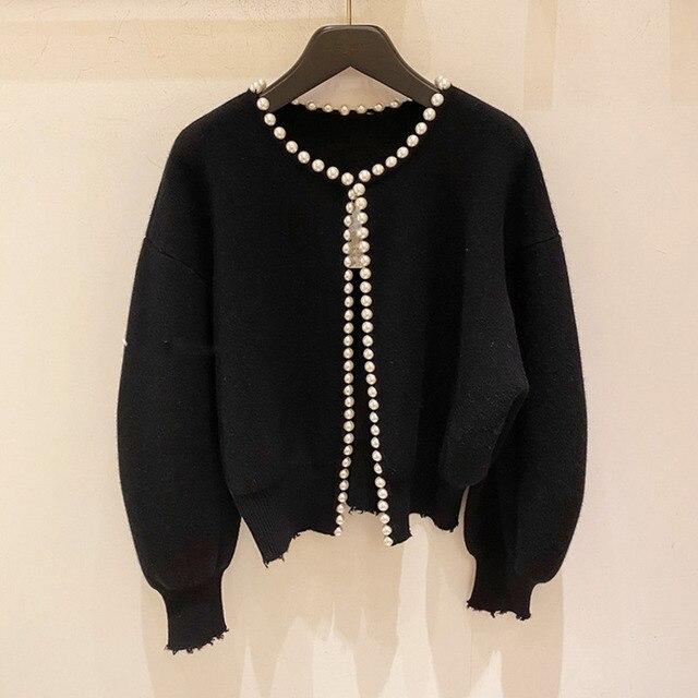 2020 nouvelle mode vestes coréennes perles Cardigan manches chauve-souris laine tricot Vintage femmes manteau de haute qualité veste AQ927 4