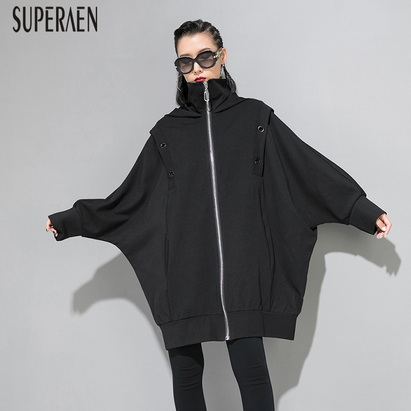 SuperAen Europe   Trench   Coat for Women Cotton 2019 Autumn and Winter New Zipper Hooded Long-sleeved Windbreaker Female