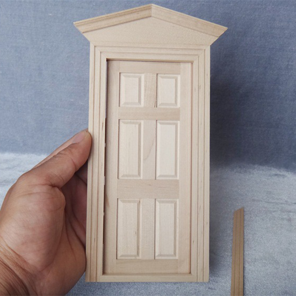 1//12 Dollhouse Miniature Unpainted Wooden Interior 6-Panel Door With Frame Gift