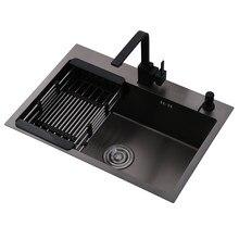 Dissipadores de cozinha de aço inoxidável preto único intestino pia da cozinha acima do contador e udermount vegetal bacia de lavagem ats800