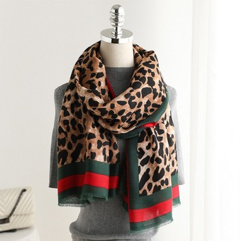 Scarf Female European and American Print Cotton New Spring And Summer Warm Leopard Collar Fashion Shawl >