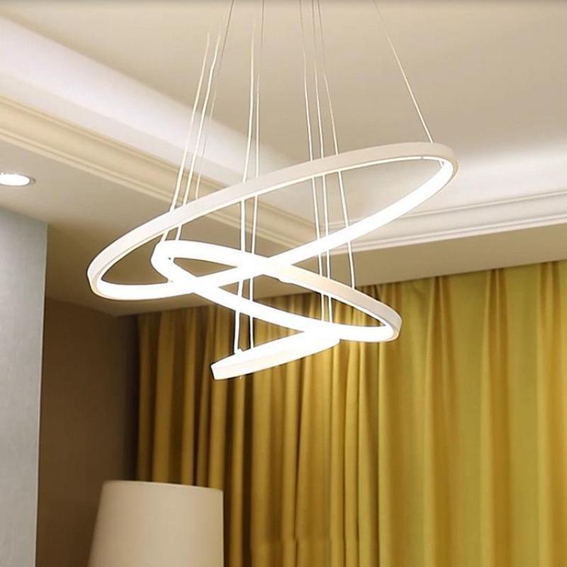 Nowoczesne koło LED pierścień DIY wisiorek światła do salonu sypialnia restauracja wystrój sklepu 110v 220v ściemniania lampy wiszące