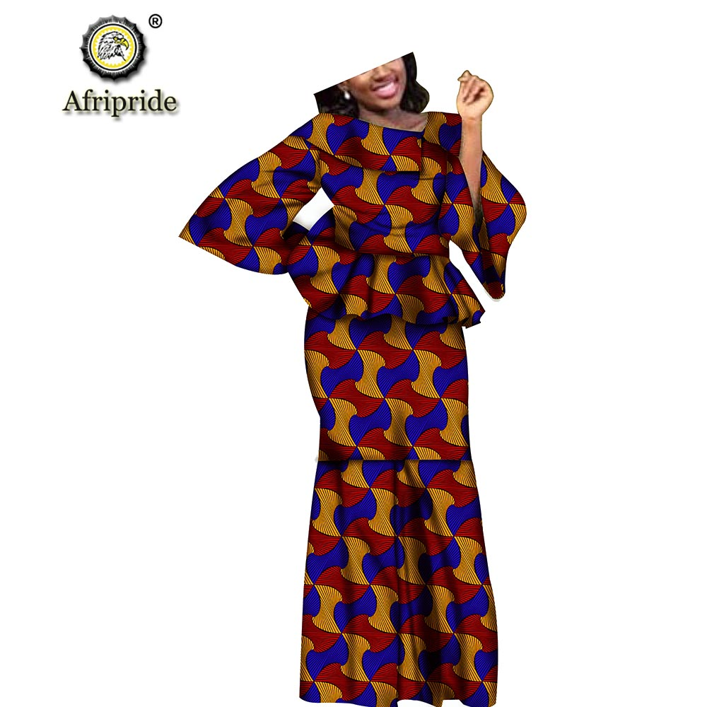 African dresses  for women print Elastic casual plus size Baggy embroidery Floor-Length Suit for lady AFRIPRIDE S1926003
