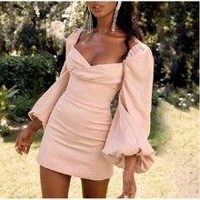 Pink Backless Party Dress Women Long Sleeve V-Neck Sexy Dress 2019 Spring Autumn Lantern Sleeve Casual Slim Mini Vintage Dress casual v neck long lantern sleeve women s green dress