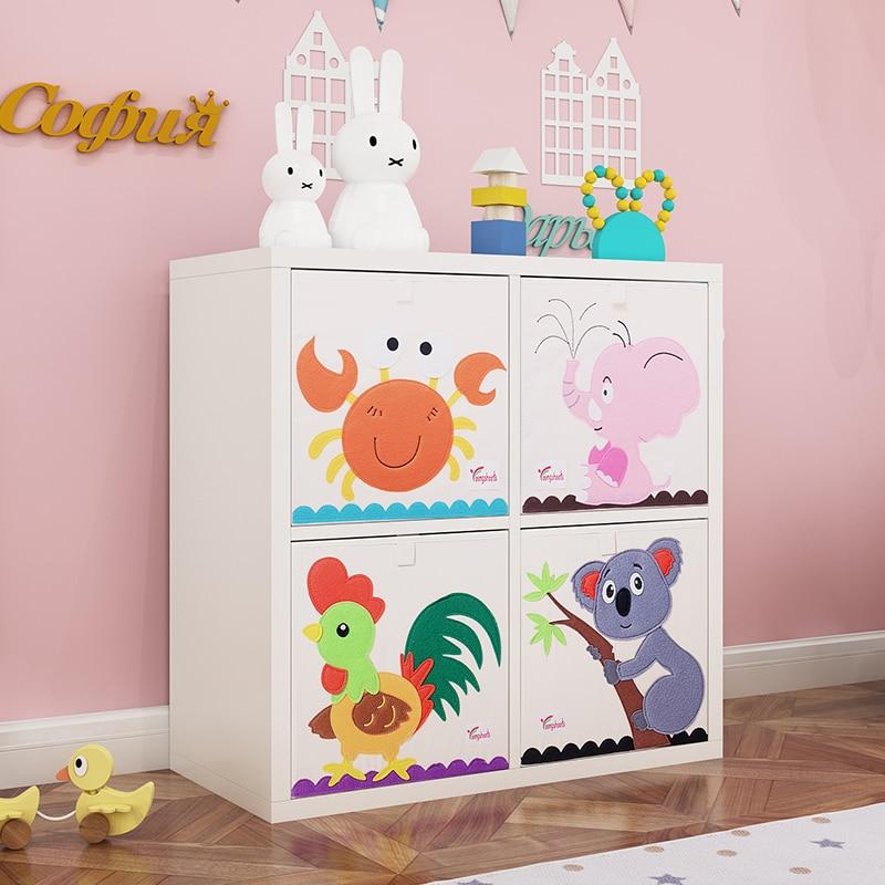 New 13 inch Cartoon Animal Cube Storage Box Folding Washed Oxford Cloth Fabric Storage Bins For Toys Organizers Storage Basket(China)