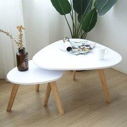 Комбинированный журнальный столик из твердой древесины, чайный столик в скандинавском стиле, столик для гостиной, простой мини-угловой жур...