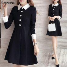 Robe Patchwork à col rabattu pour femme, vêtement à la mode, Style coréen, tenue de bureau, Streetwear, Slim, Simple, 5XL, grande taille