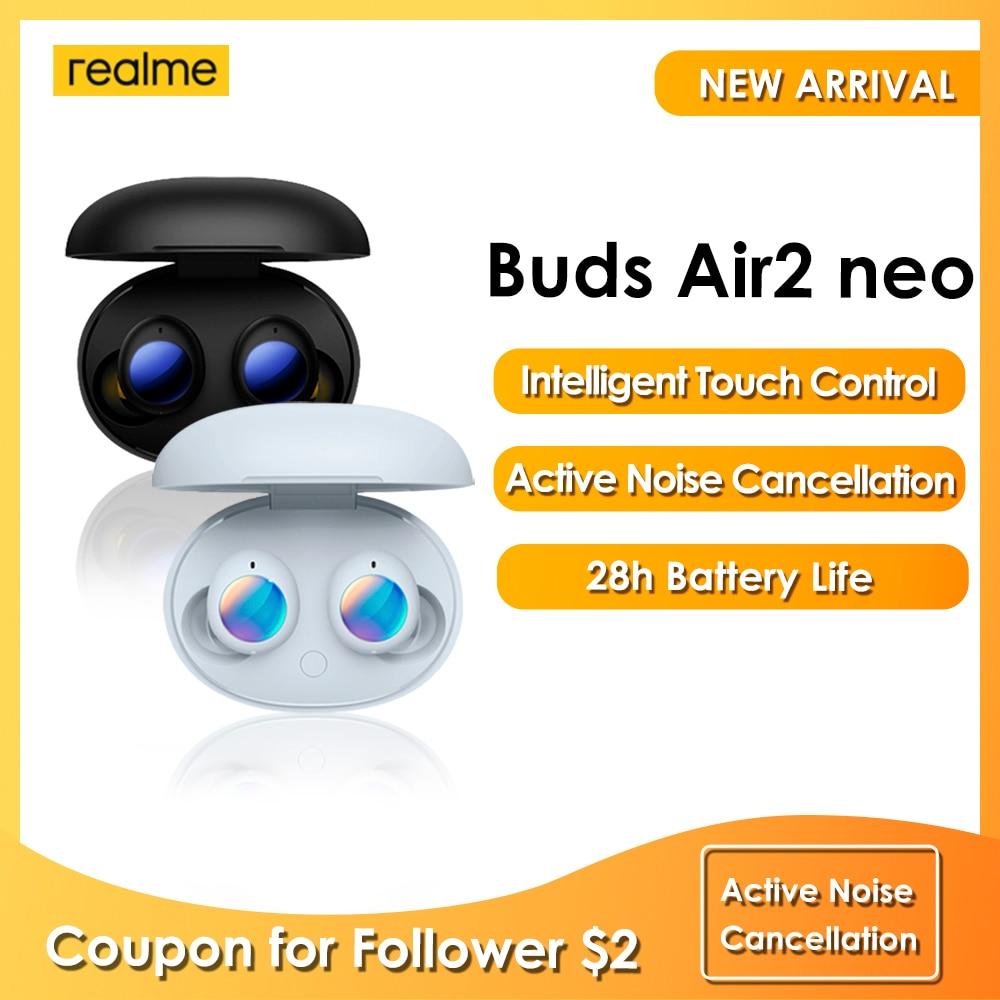 Realme бутоны Air 2 Neo новые наушники быстрой зарядки интеллигентая (ый) сенсорный Управление 28 ч Срок службы батареи активный Шум отмены ранняя п...