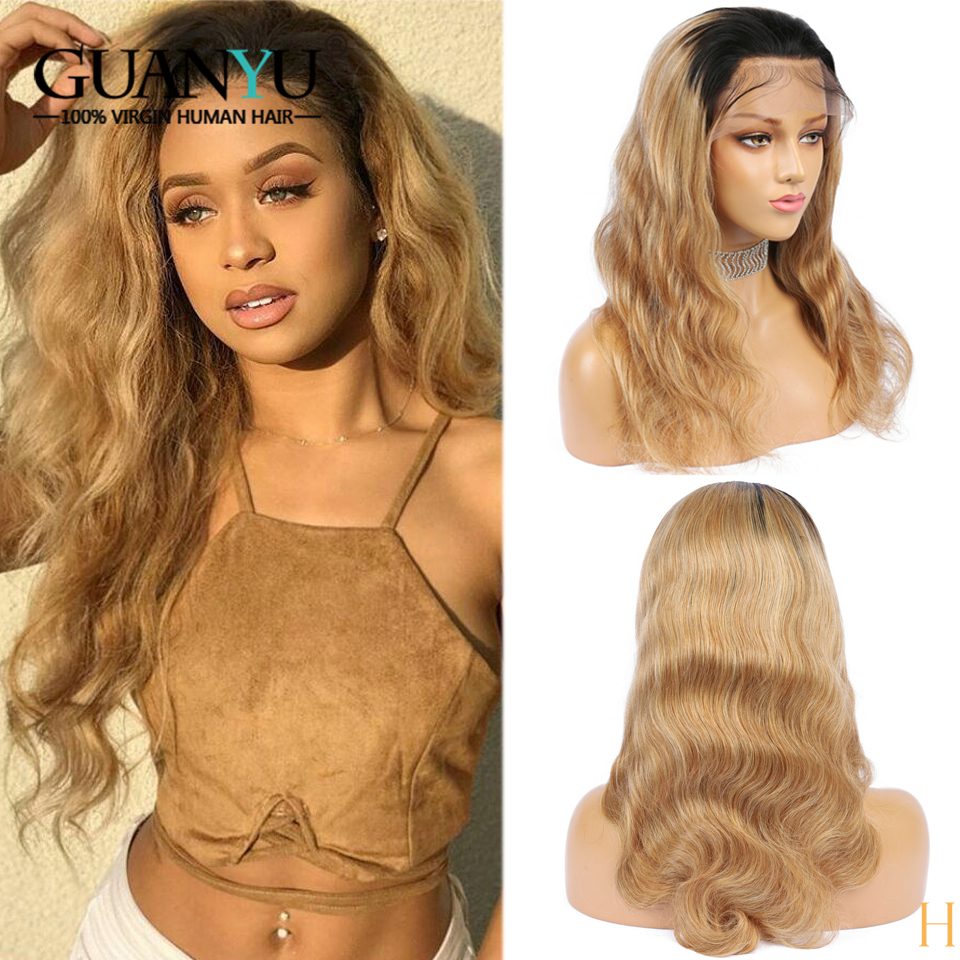 1B/27 Honey Blonde 360 Lace Frontal Wigs Body Wave Pre Plucked Brazilian Remy Ombre Human Hair Wig With Baby Hair 150% Density