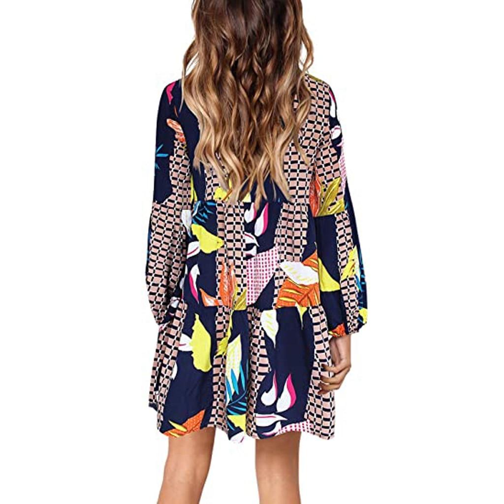 Women Summer Tunic Dress V Neck Casual Loose Flowy Swing Shift Dresses 4