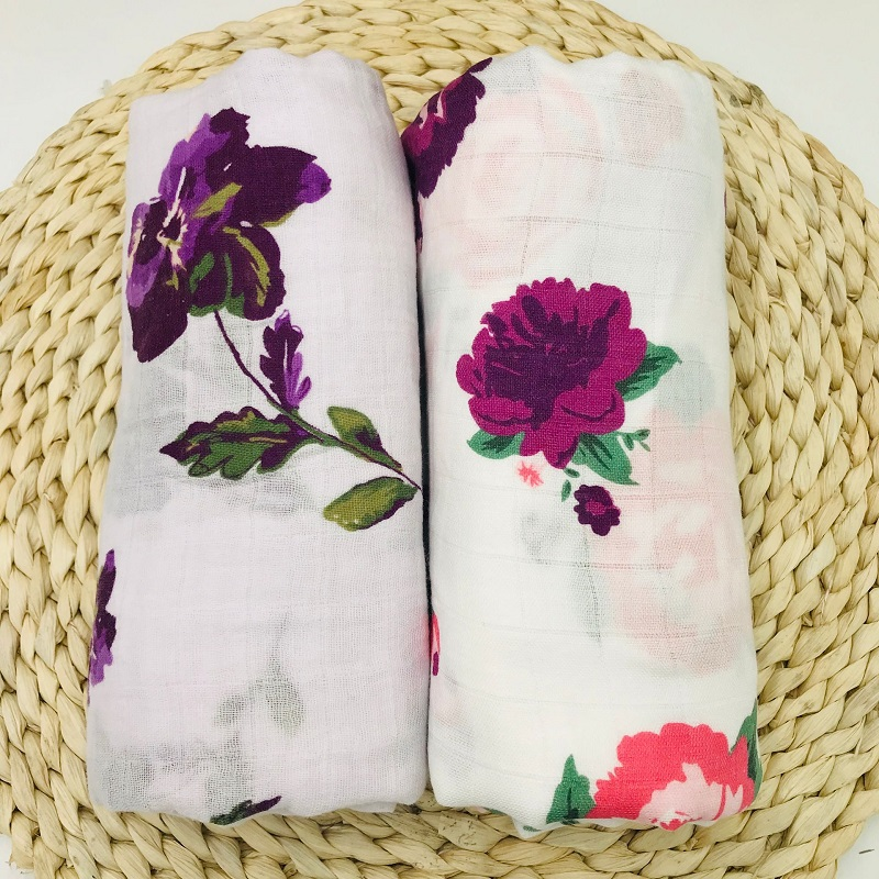 Bamboo&Cotton Muslin Blanket Nice Floral Baby Bedding Bath Towels Newborn Babies Swaddle Wrap Receiving Blanket For Boys Girls