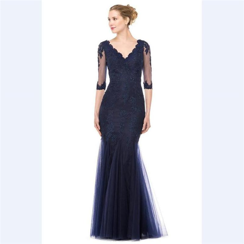 Vestido Novia V Neck Sequins Lace Evening Gowns 2018 Elegant Blue Tulle Mermaid Custom Half Sleeves Mother Of The Bride Dresses