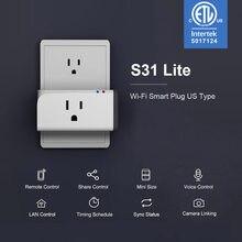 Itead sonoff s31 lite 15a tomada inteligente wifi eua versão plug controle remoto via ewelink apoio google casa alexa ifttt