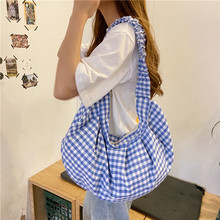 Casual Plaid Canvas Women Shoulder Bag Vintage Student Girls Fold Hobos Handbags Large Capacity Ladies Shopping Crossbody Bags large capacity canvas women handbag vintage hobos tote bag ladies large shoulder bag luxury brand casual crossbody bag for women