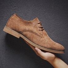 2019รองเท้าผู้ชายอังกฤษแนวโน้มรองเท้าสบายๆชายSuede Oxfordงานแต่งงานรองเท้าหนังชายZapatillas Hombre Plusขนาด46