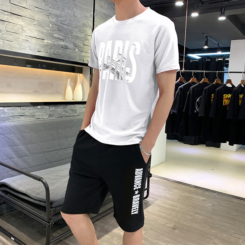 2019 New Style Thin T-shirt Casual Solid Color Printed Crew Neck Set Teenager Activity Base Shirt Trend Two-Piece Set