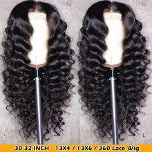 Perruque lace Frontal wig 360 brésilienne Remy, cheveux humains, lâche Deep Wave, 13x6, 32 pouces, densité 180% pour femmes noires