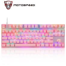Motospeed CK82 klawiatura mechaniczna niebieski czerwony przełącznik klawiatura do gier podświetlenie LED RGB USB przewodowy 87 klawiszy do tabletu Desktop Gamer