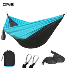 Rede de paraquedas de nylon 210t, leve, acampamento ao ar livre, portátil, única, rede com cordas e rede, carabiners