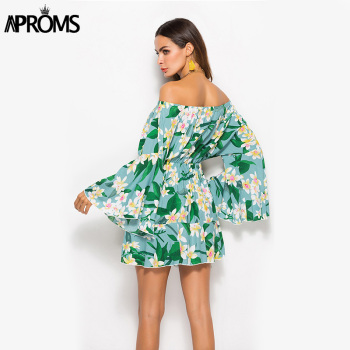 Aproms Summer Flare Sleeve Sunflower Print Dress Women Long Sleeve Off Shoulder Loose Dress 2020 Female Beach Streetwear Dresses 2