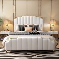U best Solid wood modern style luxury design leather bed,Queen size hotel luxury high headboard leather bed