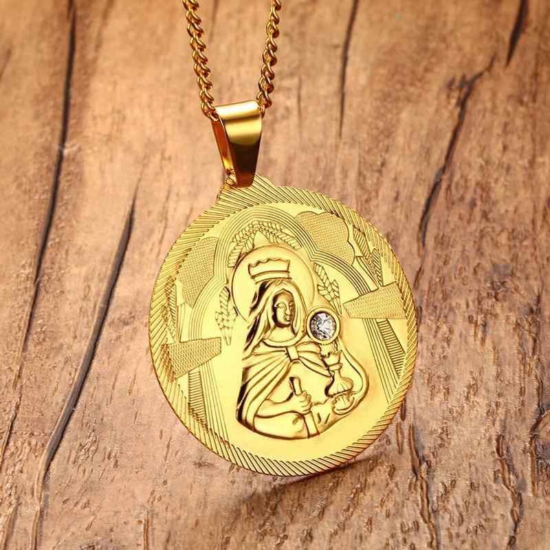 Mężczyźni Golden Mary matka jezusa okrągły medalion CZ naszyjnik stal nierdzewna St Benedict maryja dziewica naszyjniki biżuteria