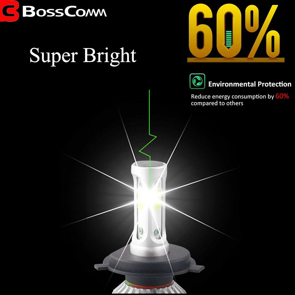 Xunshini автомобильный H4 H7 светодиодный головной светильник, лампы H1 H11 9005/HB3 9006/HB4 72 Вт 7200LM 6000K 12 В, Авто Водонепроницаемый налобный фонарь COB, прот...