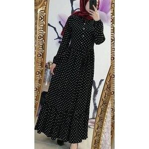 Image 4 - Imprimer Dot grande taille Maxi robes femmes dubaï arabe musulman volants pli longue robe Islam Abaya Ramadan islamique vêtements S 5XL