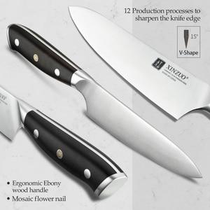 Image 3 - XINZUO cuchillo multifunción de acero, 5 pulgadas, Alemania 1,4116, cuchillos multiusos de cocina, cuchillas afiladas para cortar